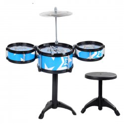 Children Toy Musical Instrument Children Drum Set with Chair 3 drums 1 small cymbals(with chair)