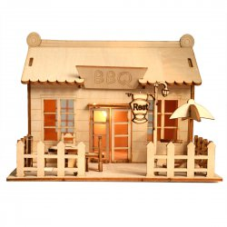 3D Wooden Puzzle DIY Model BBQ House Store with LED Light