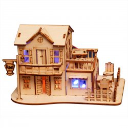 3D Wooden Puzzle DIY Model European Style House with LED Light