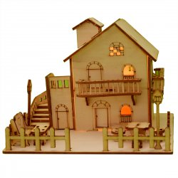 3D Wooden Puzzle DIY Model Loving House with LED Light