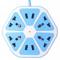 Household Colorful Lemon Appearance Power Strip 4 USB Outlet Overload Protection Blue