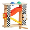 Wooden Racing Track Car with 2 Pounding Balls Children Kids Car Model Colors