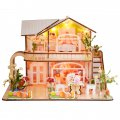 3D Wooden Puzzle DIY Model Flower House with LED Light