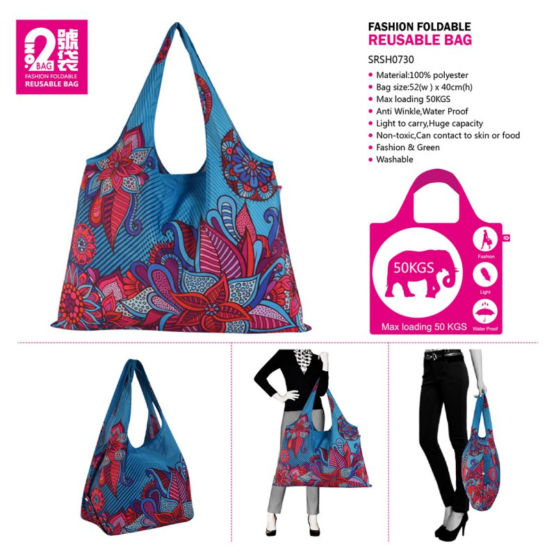 creative fashion style colorful tote shopping traveling bag foldable