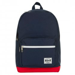 Unisex Travel Backpack Navy Blue + Red