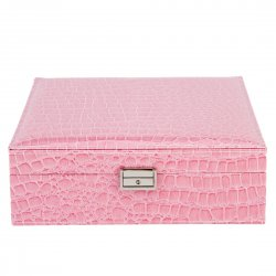 PU Leather Jewelry Box Casket Box Exquisite Makeup Case Organizer Pink