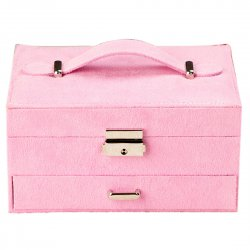 Retro Jewelry Box Casket Box Exquisite Makeup Case Organizer Lint Pink