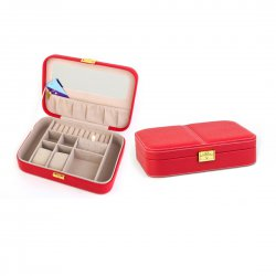 Jewelry Box Casket Box Exquisite Makeup Case Organizer Red