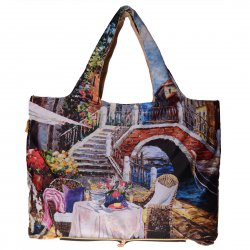 Foldable Environmental Shopping Bag Fashionable Famous Painting Bag Venice Pattern