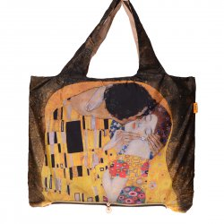 Foldable Environmental Shopping Bag Fashionable Famous Painting Bag Kiss Pattern
