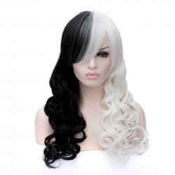 Cosplay Wig Black+White Long Curly Wig
