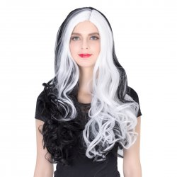 COS Wig Halloween Theme Wig A271 LW1408 Long Curly Hair Black+White