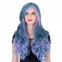 COS Wig Halloween Theme Wig A239 LW1399 Long Curly Hair Blue Purple Fading