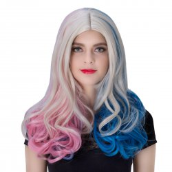 COS Wig Halloween Theme Wig A455 LW1409 Long Curly Hair Pink+Blue