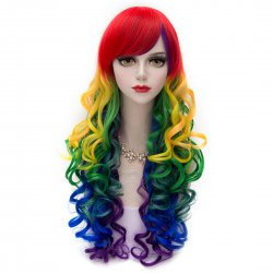 839 Cosplay COS Wigs Airy Curl Hair Colorful