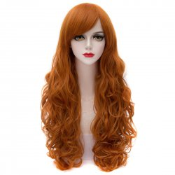 2735 Cosplay COS Wig Sideswept Bangs Long Curly Hair Golden Brown