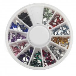12 Color Shiny Glitter Nail Art Tool Kit Artificial Diamond Crystal Oval Water Drop Shape