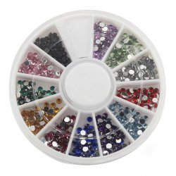12 Color 2.0mm Acrylic Artificial Diamond Nail Art Tool Kit