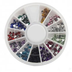 12 Color Shiny Glitter Nail Art Tool Kit Artificial Diamond Crystal Triangle Shape