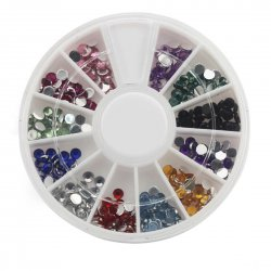 12 Color 3.0mm Acrylic Artificial Diamond Nail Art Tool Kit