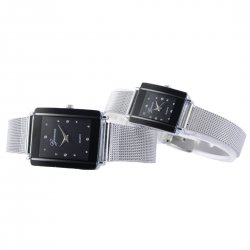 Women's Square Stainless Steel Watch Crystal Design 151210 Large Size Black