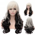 Cosplay Wig White Fading to Black Euramerican Style Long Curly Hair Wig