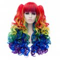 Cosplay Wig Multicolour Euramerican Style Twin Tails Long Curly Hair Wig