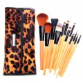 Raw Wood Makeup Cosmetic Brush Set 12 Brushes with Case Leopard Print