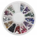 12 Color Shiny Glitter Nail Art Tool Kit Artificial Diamond Crystal Different Shape