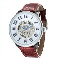 Men's Mechanical Watch Hollow Out Dial Plate Business Watch 150889 White