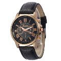 Simple Style Big Roman Numerals Dial Colorful Dial Plate Watch 150507 Black