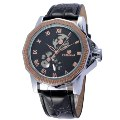 Men's Full Automated Mechanical Watch Hollow Design 151208 Golen+Black