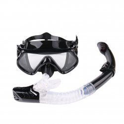 Mask and Snorkel Set for Adults Anti-Fog Glass Purge Valve Snorkeling Splash Cap