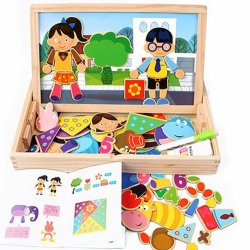 Fun Wooden Educational Toys Magnetic Art Easel Animals Puzzle Games For Kids