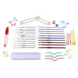 22 Crochet Hooks Needles Stitches Knitting Craft Case Crochet Set In Case Purple