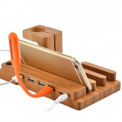 Bamboo Wood Charging Dock Station Charger Mount Holder Stand for iWatch & iPhone