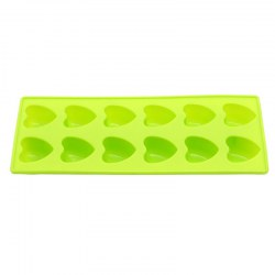 12 Grid Love Heart Pattern Ice Cube Food Silicon Bake Mould DIY Cake Tool Green