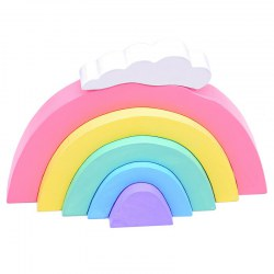 Wooden Rainbow Block Set 5 Nesting Blocks and 1 White Cloud Rainbow Colors