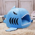 Cute Shark Shape Pet Nest Cat Dog Bed Collapsible Pet Puppy Warm House Cave