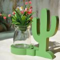 Creative Planter Home Decor Wood Cactus with Glass Bottle for Hydroponics Water Planting
