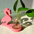 Creative Planter Home Decor Wood Flamingo with Glass Bottle for Hydroponics Water Planting