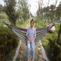 Outdoor Hammock For One Person Canvas Hammock With Cloth Bag Rope Rose Red Colorful Strip