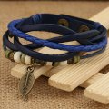 Pang Ke Genuine Leather Bracelet Leaf Pendant Bead Blue