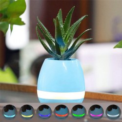 Flowerpot Bluetooth Speaker Night Light Touch Control Wireless Speaker Blue