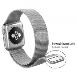 DOUBLE ANTLERS Metal Watchband for Apple Watch 1/2/3 with Protective Case 38mm Silver