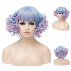 Short Curly Hair Wigs A340 SW1177E Blue pink