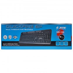KB-106 Standard Gaming/Office USB Cable Keyboard with Multimedia Keys Black