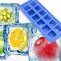 12 Grid Ice Cube with Lid Cover Square Pattern Food Silicon Bake Mould DIY Cake Tool Purple