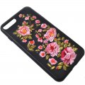 Mutural Protective Phone Case for iPhone7 4.7'' 3D Delicate Embroidery Pattern Pink Flower