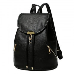 Woman PU Leisure Backpack Black